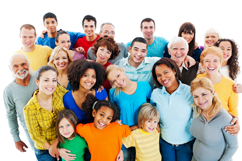 Portrait of a large group of a Mixed Age people smiling and embracing together
